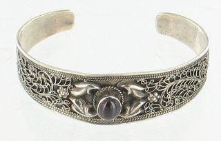 Sterling Cherry Amber Cab Cuff Bracelet Ornate Wire Work Pretty