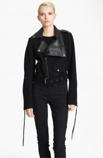 Donna Karan Collection Belted Leather & Felted Wool Jacket