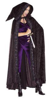 Length Black Hooded Cape Velvet Grim Reaper Costume Accessory