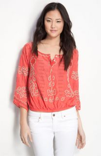 Free People Mayfair Sheer Embroidered Top