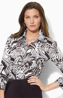 Lauren by Ralph Lauren Three Quarter Sleeve Shirt (Petite)
