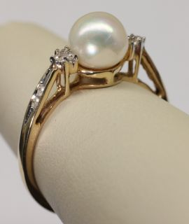 White Cultured Pearl & Diamond Accent 14K Yellow Gold Ring Cathedral
