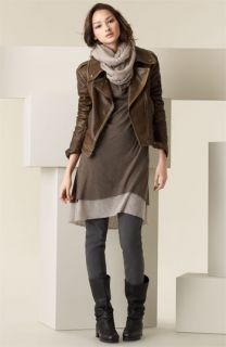 Donna Karan Collection Dress & Leggings with Leather Jacket