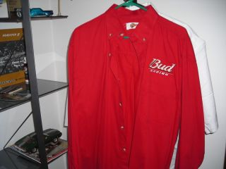 BUD RACING SHIRT DALE EARNHART JR 8 NASCAR BUDWEISER BEER 88 RACE CAR