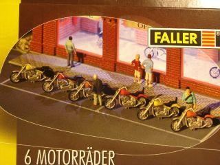 HO Faller Motorcycle Kit   Makes 6 Bikes 2 Styles 3 Colors