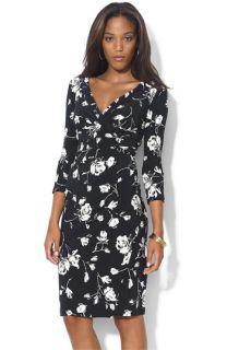 Lauren by Ralph Lauren Print Faux Wrap Jersey Dress