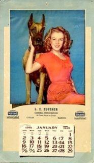 Marilyn Monroe Ad Calendar Dame and Dane Pinup Litho 1949 Vtg Golden