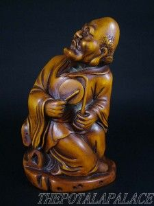 Chinese 18 19thC Boxwood Carved Statue Sculpture Damo Buddha