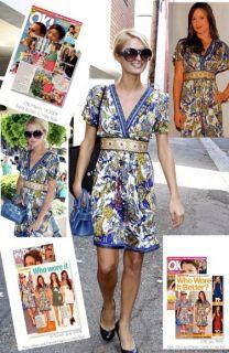 Hale Bob Silk Jersey Kimono Dress L 10 12 UK 14 16 RARE Paisley Blue