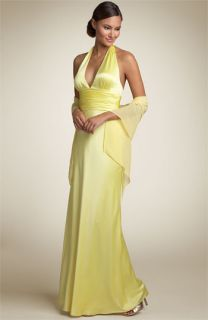 Adrianna Papell Charmeuse Halter Gown with Scarf