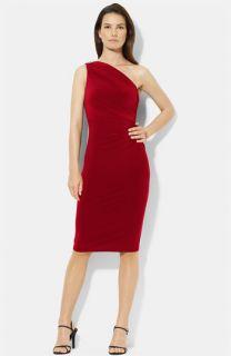 Lauren Ralph Lauren One Shoulder Jersey Sheath Dress