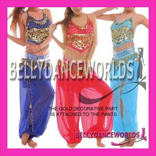 PC Belly Dance Costume Set Gold Halter Top Harem Genie Pants