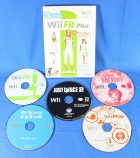 Lot of 6 Nintendo Wii Games Just Dance 2 Wii Fit Plus Wii Sports Play