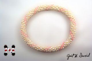 Designer Pearl Bead Crochet Bracelet w Pink Coral