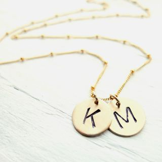 Custom Goldfill Initial Necklace with 1 or 2 discs Personalized