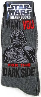 Star Wars Darth Vader Darkside Mens Crew Socks Size 10 13