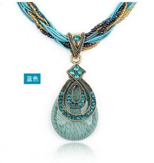 Bohemia Drop Crystal Resin European Pendant Necklace