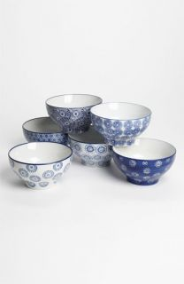 Chehoma Atelier dAmbiances Large  Blue Flower Bowls (Set of 6)