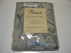 fleur rod pocket 108 inch curtain panel french blue