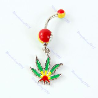 contact us pot leaf jamaica dangling belly navel ring marijuana