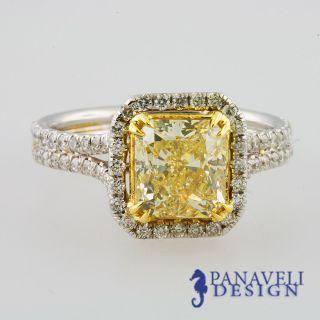 25 carat Fancy Yellow Cushion Cut Diamond Engagement Ring 18k White