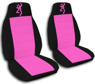 Cute Car Seat Covers Velour Hot Pink Black with Pink Browning