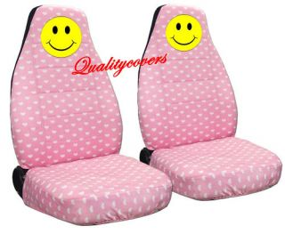 Cute Smiley Face Car Seat Covers Pink Heart Awesome