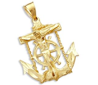 Cross Crucifix Anchor Pendant 14k Yellow Gold Charm 1 50 inch