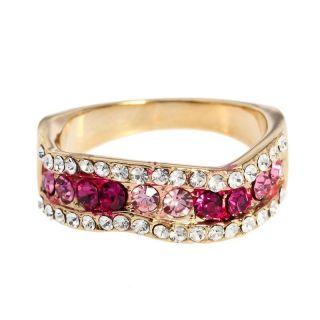 Simple Nice Cute Cocktail Fashion Ring Swarovski Pink Crystal