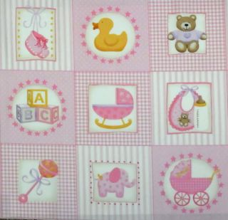 Baby Girl Pink Quilting Patchwork Quilt Cotton Fabric 33 Squares Block