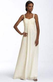 Sean Collection Beaded Drape Front Chiffon Gown
