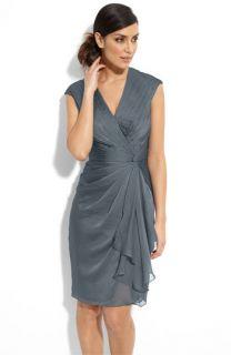 Adrianna Papell Faux Wrap Chiffon Dress (Petite)