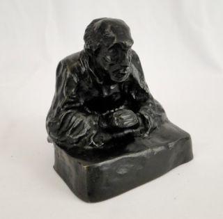 Antique Honore Daumier Bronze Satirical Judge Sculpture
