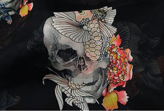 Alexander multi  skulls Blue Pink Fish Black Silk Scarf Wrap AUTHENTIC