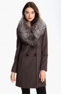 Elie Tahari Double Breasted Coat with Genuine Fox Fur Collar