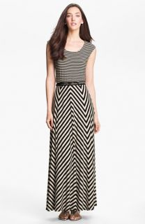 Calvin Klein Belted Multi Print Jersey Maxi Dress