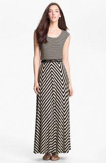 Calvin Klein Belted Multi Print Jersey Maxi Dress