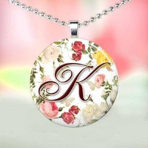Personalized Monogram Glass Tile Necklace Pendant F06