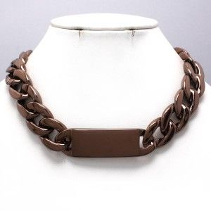 style chunky huge chocolate brown chain 16 18 necklace fashion jewelry