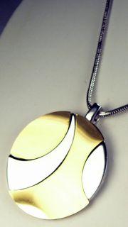 Tone Silver Gold Mod Style Large Retro Pendant w Snake Chain