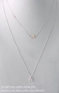 Rose Gold Two Hammered Crosses Necklace Sterling Silver Sideways Cross