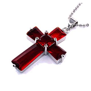 Fashion Jewelry Gift Cross Cut Red Ruby White Gold GP Pendant Necklace