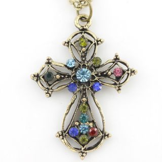Vintage Retro Antique Gold Tone Blue Crystal Cross Necklace