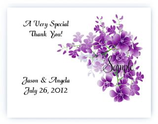 Personalized Purple Floral Flowers Wedding Bridal Thank You Cards