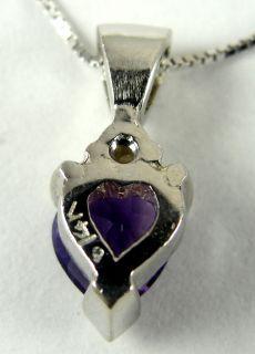 14K White Gold Pendant Necklace Amethyst Petite Heart Diamond Accent