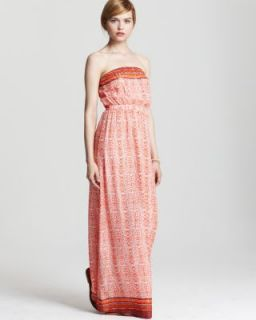 Twelfth St by Cynthia Vincent New Orange Strapless Print Maxi Dress