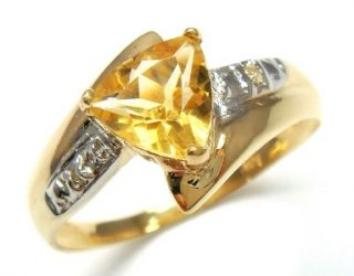 10kt yellow gold trillion cut citrine diamond ring
