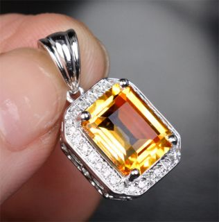 Cut VVS Citrine 14k White Gold 25ct Diamond Pendant for Necklace