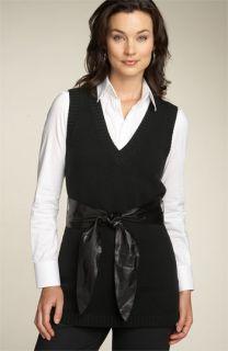 Lafayette 148 New York Leather Sash Knit Vest