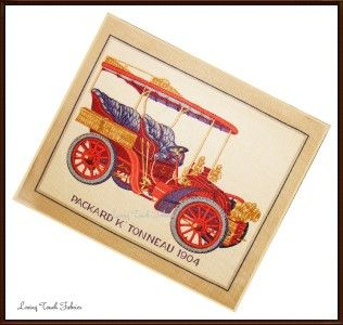 cyrus clark packard 1904 vintage car fabric panel # f